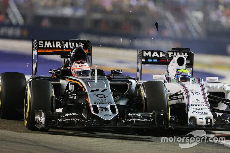Nico Hülkenberg, Sahara Force India F1 VJM08, und Felipe Massa, Williams FW37, mit Unfall während de