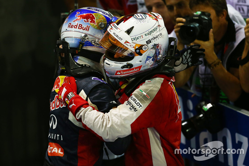 Race winner Sebastian Vettel, Ferrari and second place Daniel Ricciardo, Red Bull Racing