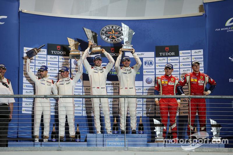 LMGTE Pro Podium: 1. Richard Lietz, Michael Christensen, Porsche Team; 2. Frédéric Makowiecki, Patri
