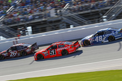 J.J. Yeley, BK Racing Toyota and Justin Allgaier, HScott Motorsports Chevrolet and Jimmie Johnson, Hendrick Motorsports Chevrolet