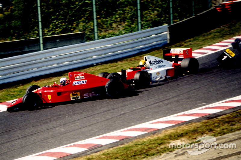 Alain Prost, Ferrari and Ayrton Senna, McLaren collide in the first corner