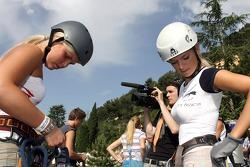 Formula Unas girls in a mountain climbing expedition: Rebecca Blomgren and Katja Semenova