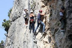 Formula Unas girls in a mountain climbing expedition: Katja Semenoca, Tahnee Frijters and Bebecca Blomgren