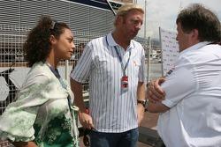 Boris Becker, Retired Tennis player and his girlfriend with Norbert Haug, Mercedes, Motorsport chief