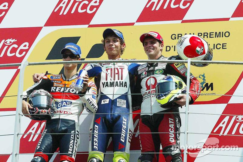 2007: 1. Valentino Rossi, 2. Dani Pedrosa, 3. Alex Barros
