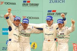 Podium: 1. Romain Dumas, Marcel Tiemann, Marc Lieb, Timo Bernhard