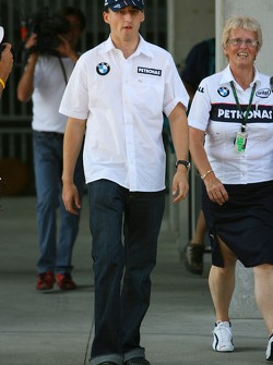 Robert Kubica, BMW Sauber F1 Team, arrives at the circuit