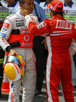 Pole Position, 1st, Felipe Massa, Scuderia Ferrari and 2nd, Lewis Hamilton, McLaren Mercedes, MP4-22