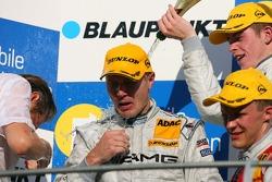 Podium: Mika Hakkinen, Team HWA AMG Mercedes, Mattias Ekström, Audi Sport Team Abt Sportsline, Paul di Resta, Persson Motorsport AMG Mercedes. Left: Hans-J¸rgen Mattheis, Team Manager HWA