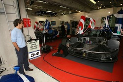 Alain Prost looks at the Team Oreca Saleen S7R driven by his son Nicolas Prost