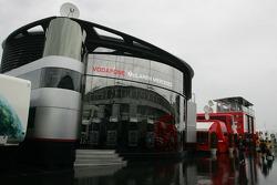 McLaren Mercedes motorhome in the wet paddock