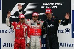 Podium: 1. Fernando Alonso, 2 Felipe Massa, 3. Mark Webber