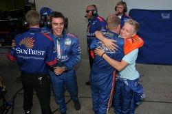Jan Magnussen celebrates win with SunTrust Racing team members