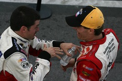 Race winner Kevin Harvick and runner-up Patrick Carpentier congratulate each other