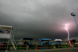 Lightning strikes near the circuit