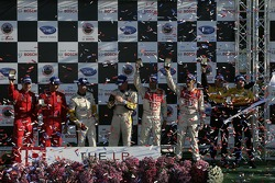 Class winners podium: GT2 winners Mika Salo and Jaime Melo, GT1 winners Johnny O'Connell and Jan Magnussen, P1 winners Emanuele Pirro and Marco Werner, overall and P2 winners Timo Bernhard and Romain Dumas