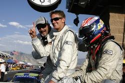 Race winners Jim Matthews, Ryan Hunter-Reay and Marc Goossens celebrate