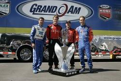 Grand Am Rolex Series 2007 championship contenders Scott Pruett, Alex Gurney, Jon Fogarty and Max Angelelli pose with the championship trophy