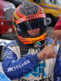 DP pole winner Scott Pruett celebrates