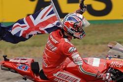 2007 MotoGP champion Casey Stoner celebrates