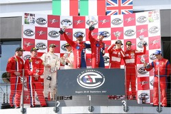 GT2 podium: class winners Gianmaria Bruni and Stéphane Ortelli, second place Emmanuel Collard and Matteo Malucelli, third place Andrew Kirkaldy and Rob Bell