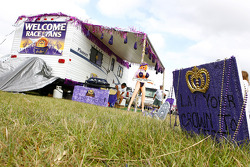 Race fans decorate their campsite for the Crown Royal contest on the infield at Talladega