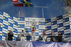 Championship podium: 2007 DTM champion Mattias Ekström with second place Bruno Spengler and third place Martin Tomczyk