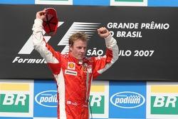 Podium: race winner and 2007 World Champion Kimi Raikkonen