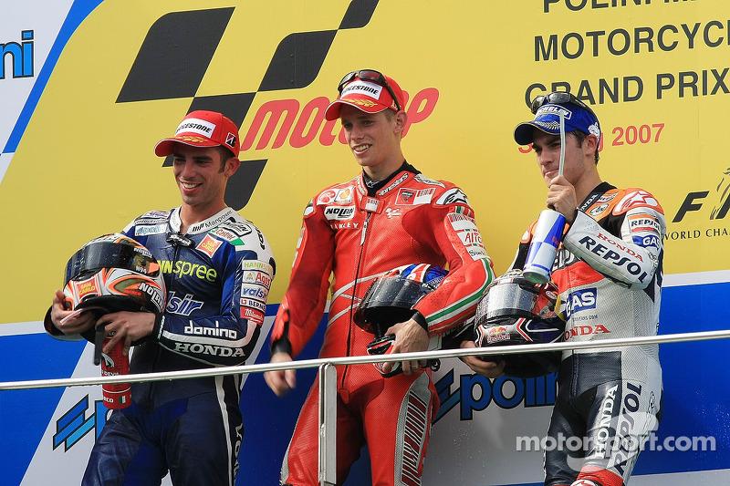 2007: 1. Casey Stoner, 2. Marco Melandri, 3. Dani Pedrosa