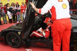 Michael Schumacher drives the Ferrari FXX
