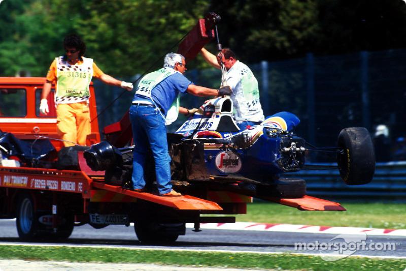 The fatal crash of Ayrton Senna at Tamburello: the wrecked car of Ayrton Senna