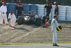 Ralf Schumacher, Force India F1 Team, en la gravilla