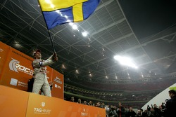Podium: Race of Champions winner Mattias Ekström celebrates
