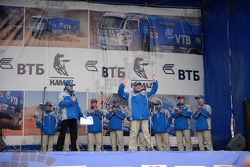 Kamaz-Master ceremonial start on the Red Square in Moscow: Semen Yakubov and Kamaz-Master teams members on stage