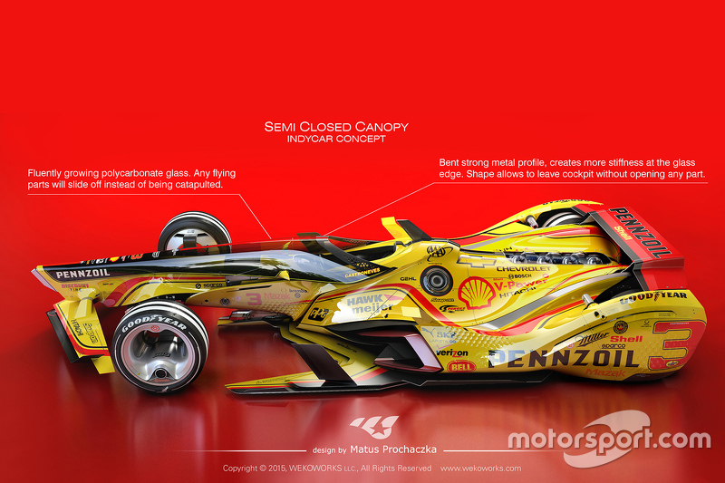 Possible future design for 2035 IndyCars with semi-closed canopy solution