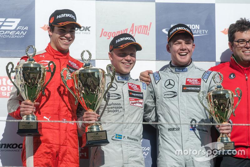 Podium: winner Felix Rosenqvist, Prema Powerteam, second place Lance Stroll, Prema Powerteam, third