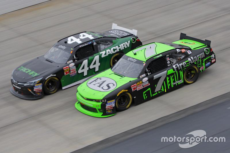 Regan Smith, JR Motorsports Chevrolet and David Starr, TriStar Motorsports Toyota