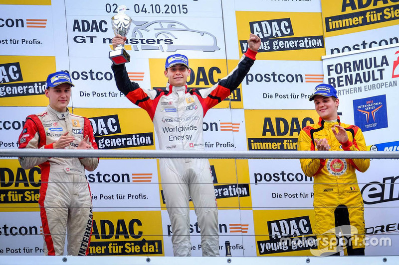 Podium: winner Louis Deletraz, Josef Kaufmann Racing, second place Kevin Jörg, Josef Kaufmann Racing, third place Dries Vanthoor, Josef Kaufmann Racing