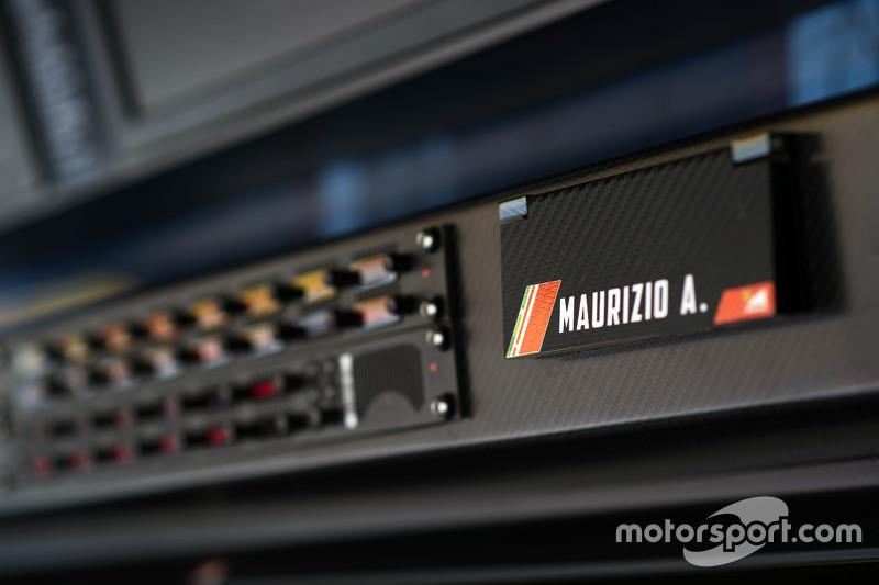 Ferrari pit gantry - Maurizio Arrivabene, Ferrari Team Principal radio board