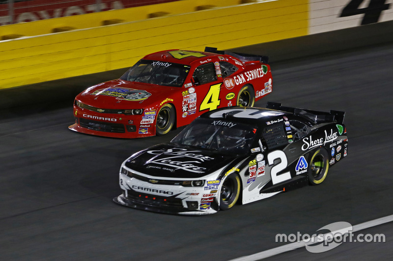 Ross Chastain, JD Motorsports Chevrolet and Brian Scott, Richard Childress Racing Chevrolet