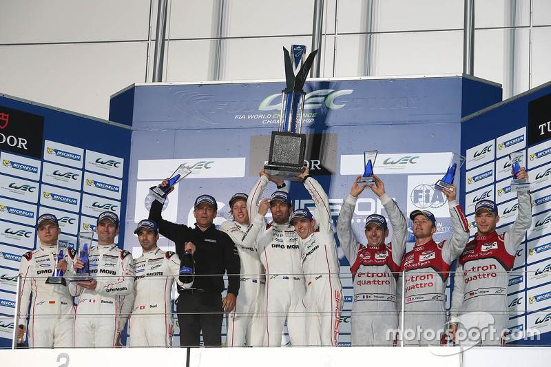 Podium: winners Timo Bernhard, Mark Webber, Brendon Hartley, Porsche Team, second place Romain Dumas, Neel Jani, Marc Lieb, Porsche Team, third place Marcel Fässler, Andre Lotterer, Benoit Tréluyer, Audi Sport Team Joest