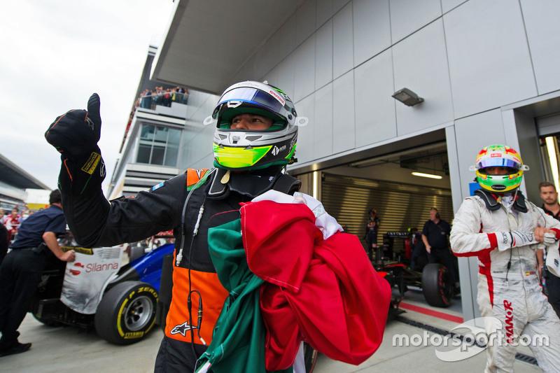Sergio Perez, Sahara Force India F1 celebrates his third position in parc ferme