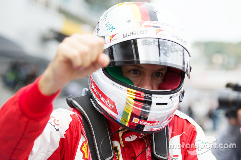 Sebastian Vettel, Ferrari celebrates his second position in parc ferme