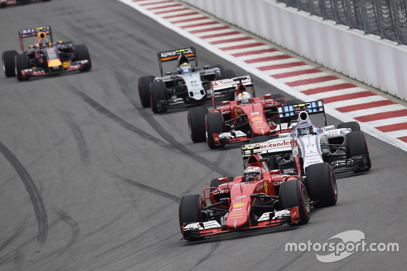 Kimi Raikkonen, Ferrari and Valtteri Bottas, Williams and Sebastian Vettel, Ferrari