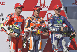 Qualifying top three: polesitter Marc Marquez, Repsol Honda Team, second place Andrea Iannone, Ducati Team, third place Jorge Lorenzo, Yamaha Factory Racing