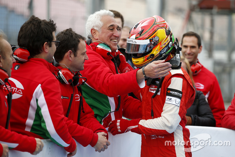 Lawrence Stroll congratulating his son Race 1 Winner Lance Stroll, Prema Powerteam Dallara Mercedes-Benz