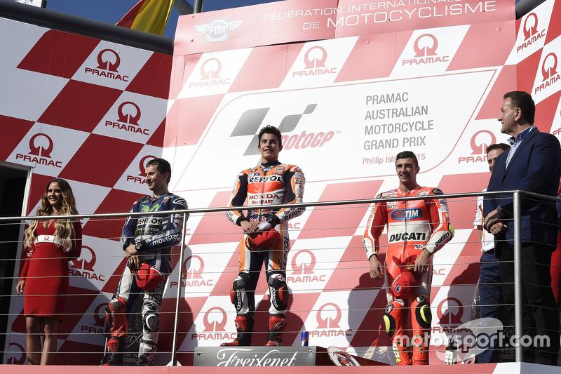 Podio: 1º Marc Márquez, 2º Jorge Lorenzo, 3º Andrea Iannone