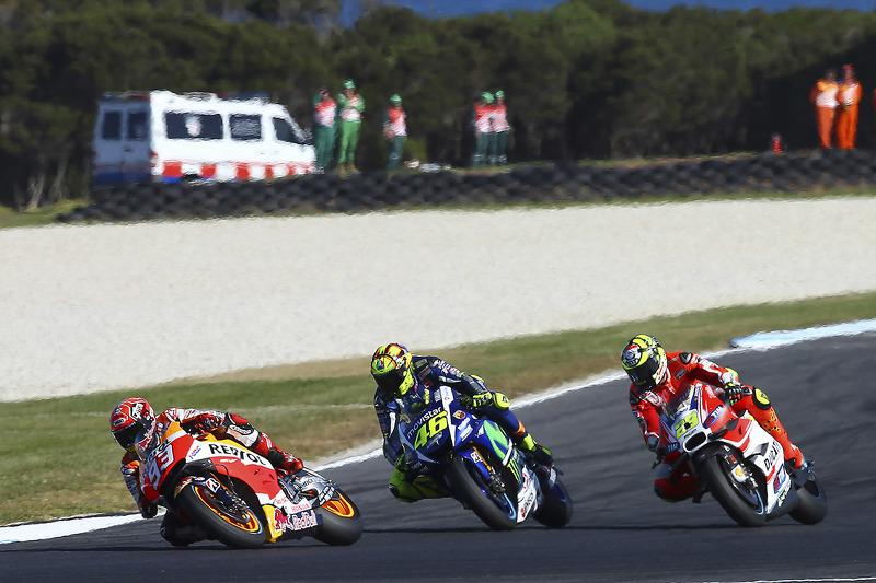 Marc Marquez, Repsol Honda Team; Valentino Rossi, Yamaha Factory Racing; Andrea Iannone, Ducati Team