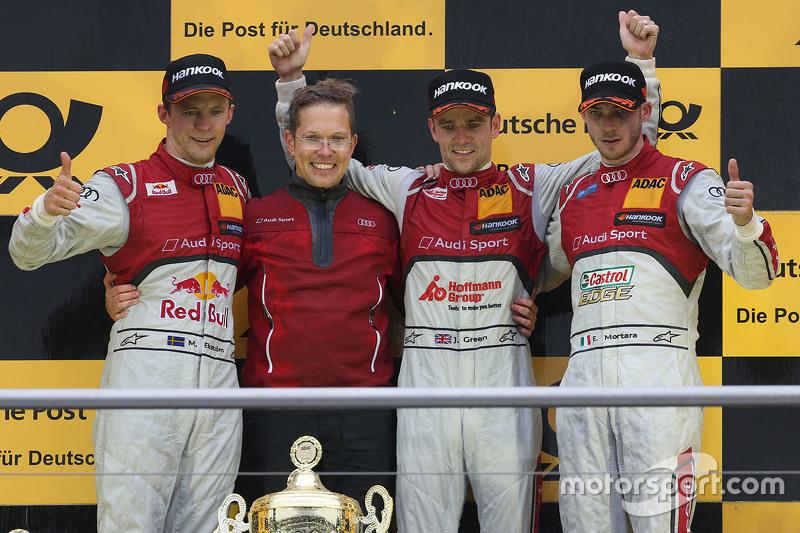 Podium: race winner Jamie Green, Audi Sport Team Rosberg, second place Mattias Ekström, Audi Sport T