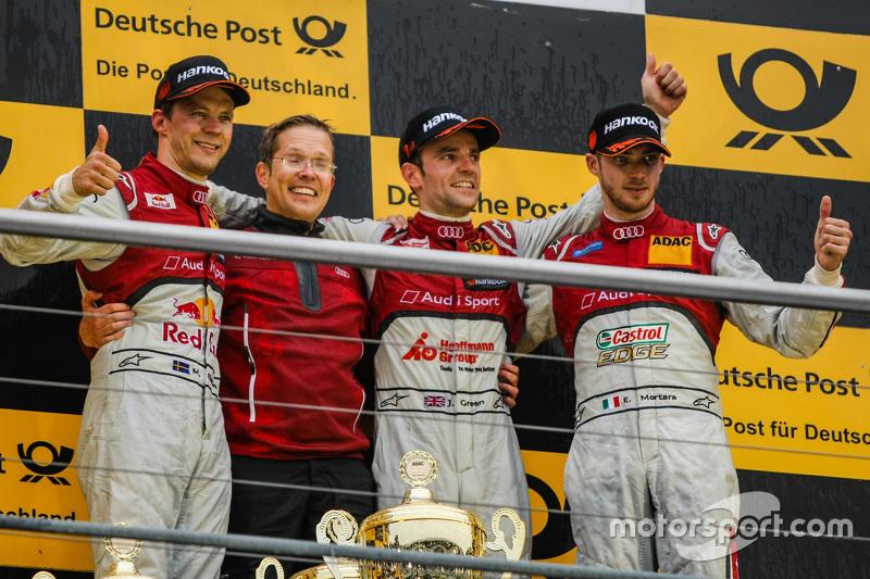 Race 2 Podium: second place Mattias Ekström, Audi Sport Team Abt Sportsline and winner Jamie Green,